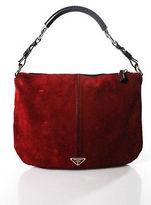 Prada Red Suede Zipper Closure Dark Brown Handle Hobo Shoulder Handbag