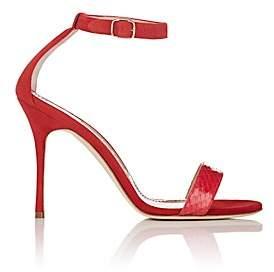 Manolo Blahnik Women's Chaosbic Suede & Snakeskin Sandals - Red Suede