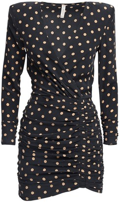 Bec & Bridge Ruched Polka Dots Silk Mini Dress