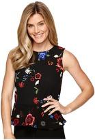 Ellen Tracy Mixed Media Flounce Shell Women's Clothing