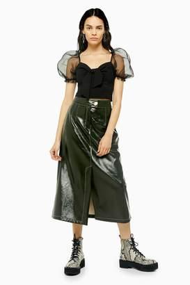 Topshop Womens Dark Green A-Line Faux Leather Vinyl Midi Skirt - Dark Green