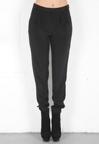 Tibi Solid Silk Pleated Pant in Black