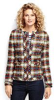 Lands' End Women's Petite Textured Jacket-Blue Tweed