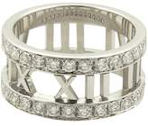 Tiffany & Co. 18K White Gold with Diamonds Open Roman Numeral Band Ring Size 4.0