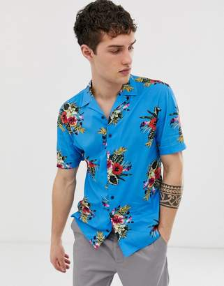Moss Bros skinny fit shirt with bright floral print in blue