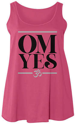 American Classics Women's Tank Tops HOT - Hot Pink 'Om, Yes' Scoop Neck Tank - Plus