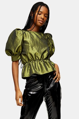 Topshop Womens Green Short Sleeve Puff Taffeta Blouse - Chartreuse