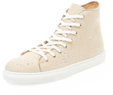 Charlotte Olympia Bejeweled Linen Hi-Top
