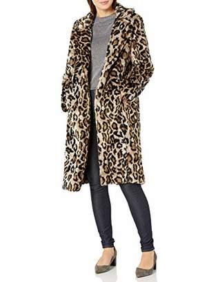 Vince Camuto Women's Cheetah Faux Fur Notch Collar Jacket