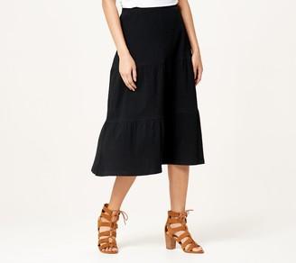 Denim & Co. Petite Knit Gauze Tiered Midi Skirt