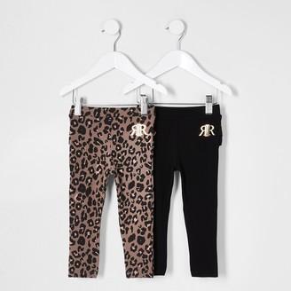 River Island Mini girls Brown ruffle bum leggings 2 pack