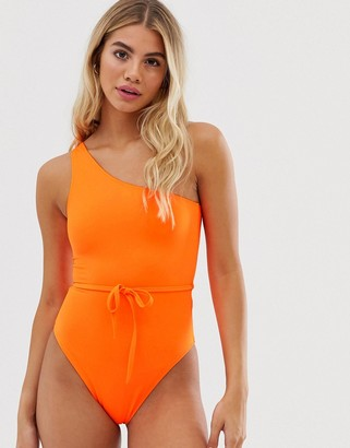 Miss Selfridge swimsuit with asymmetric shoulder strap in neon orange
