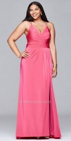 Faviana Rhinestone Criss Cross Back Pleated Plus Size Evening Dress