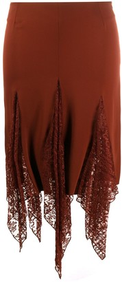Romeo Gigli Pre Owned 1990s Lace Panel Skirt