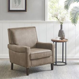 "Martha Stewart Winston 30"" W Faux Leather Armchair"