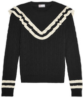 RED Valentino Ruffle-trimmed Striped Cotton Sweater - Black