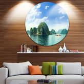 DESIGNART Design Art Ha Long Bay in Vietnam Ultra Vibrant Seascape Metal Circle Wall Art