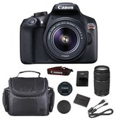 Canon Eos Rebel T6 Dslr Camera With 18-55mm And 75-300mm Lens Kit & Case.