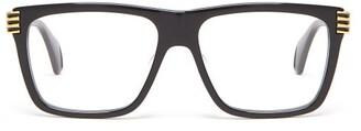 Gucci Stripe-tipped Square Acetate Glasses - Mens - Black