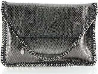 Stella McCartney Falabella Fold Over Clutch Faux Snakeskin