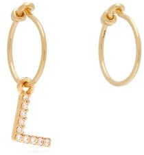 Theodora Warre - Crystal L-charm Gold-plated Earrings - Gold