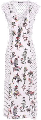 Markus Lupfer Larissa Crepon-paneled Printed Silk Crepe De Chine Midi Dress