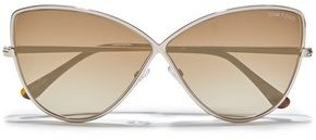 Tom Ford Cat-eye Tortoiseshell Acetate And Gold-tone Mirrored Sunglasses