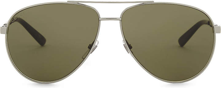 Gucci Ladies Silver Striped Classic Gg0137S Aviator-Frame Sunglasses