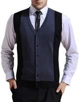 Zicac Men's Business V-neck Assorted Color Knitwear Vest Cardigan Sweater