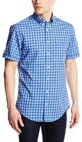 Gant Regular Fit Casual Shirt GC. Dogleg Poplin Check with SS BD, Size L, Blue (Mid Blue)