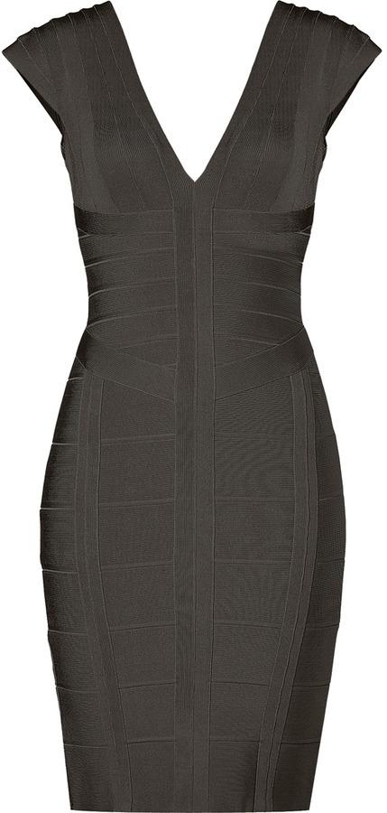 Herve Leger Shadow V-Neck Bandage Dress