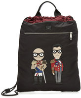 Dolce & Gabbana Fabric Backpack with Leather Motifs