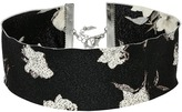 Steve Madden Material with Floral Pattern Choker Necklace