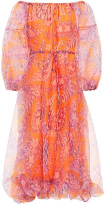 STAUD Gathered Printed Chiffon Midi Dress