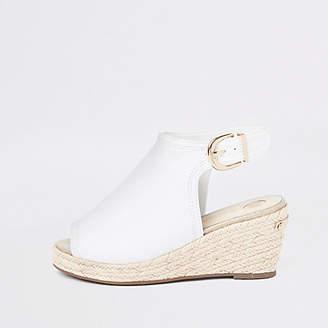 River Island Girls White espadrille peep toe wedges