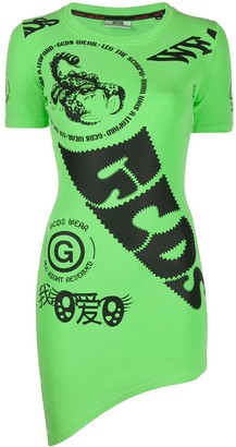 GCDS Logo-Print Fitted Dress