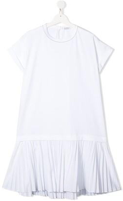 BRUNELLO CUCINELLI KIDS TEEN pleated panel T-shirt dress