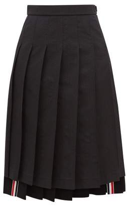 Thom Browne Tonal-striped Pleated Midi Skirt - Womens - Black