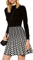 Karen Millen Geometric Print A-Line Dress, Black/White
