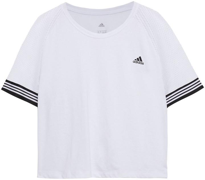 adidas Printed Mesh-paneled Stretch-jersey T-shirt