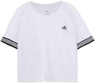 adidas Printed Mesh-paneled Stretch-jersey T-shirt