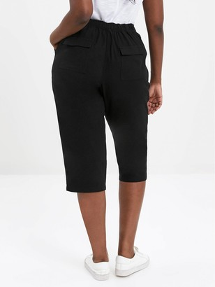 Evans Linen Cropped Trousers - Black