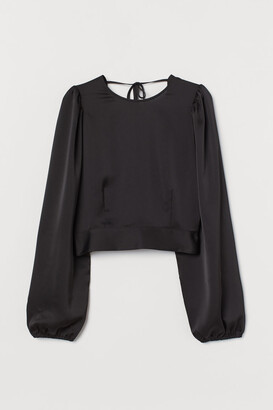 H&M Open-backed Blouse - Black