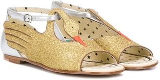 Gucci Kids Glitter-Swan Sandals