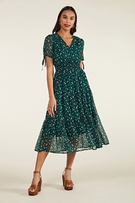 Yumi Ditsy Daisy Ruched Midi Dress