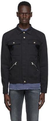 Palm Angels Black Denim Workwear Logo Jacket