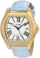 A Line a_line Women's AL-80008-YG-02-LB Adore Silver Dial Light Blue Leather Watch