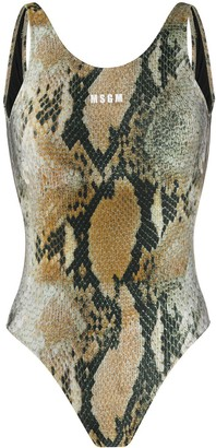 MSGM Snake-Print Swimsuit