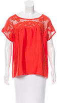 Tibi Lace-accented Scoop Neck Top
