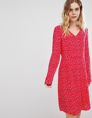Ichi Ditsy Floral Dress-Red